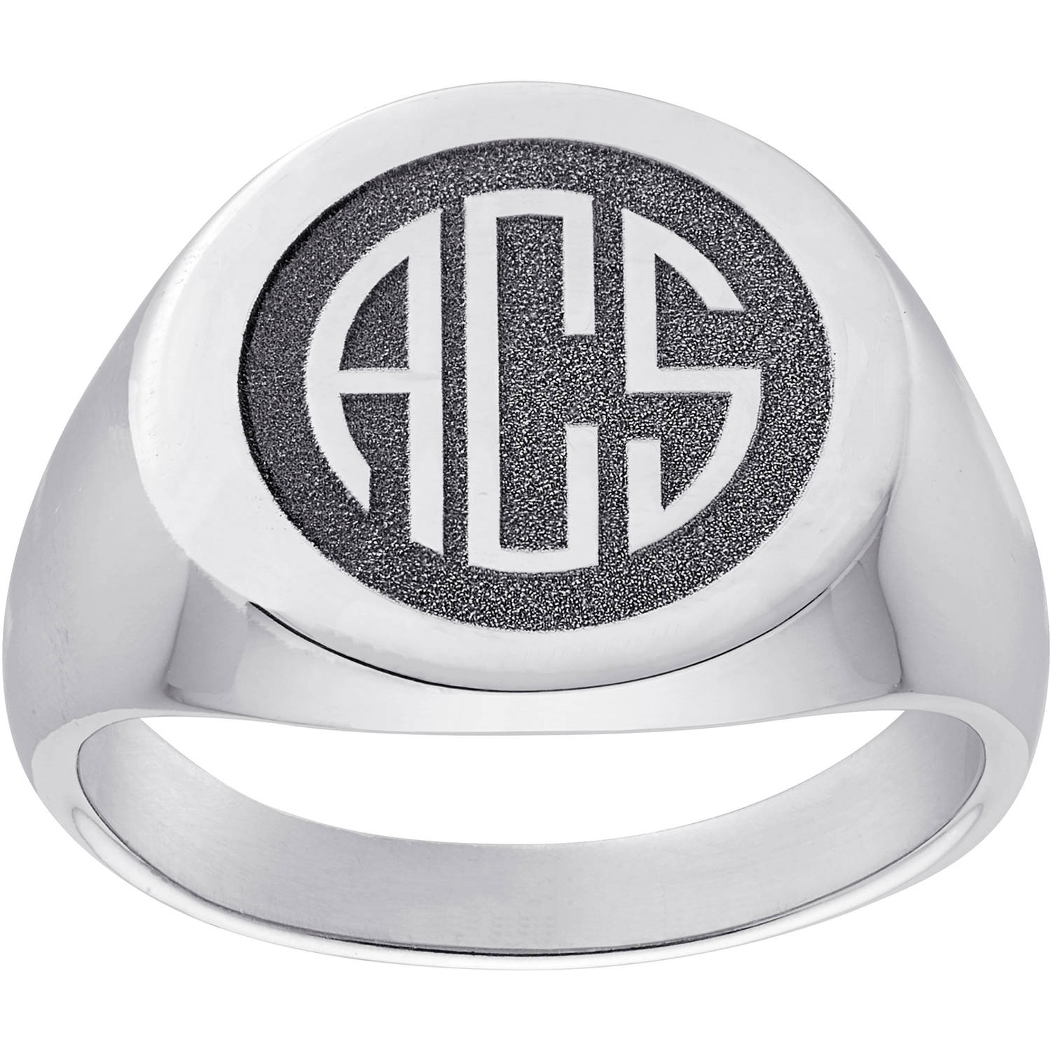 Personalized Sterling Silver Men's Monogram Top-Engraved Signet Ring