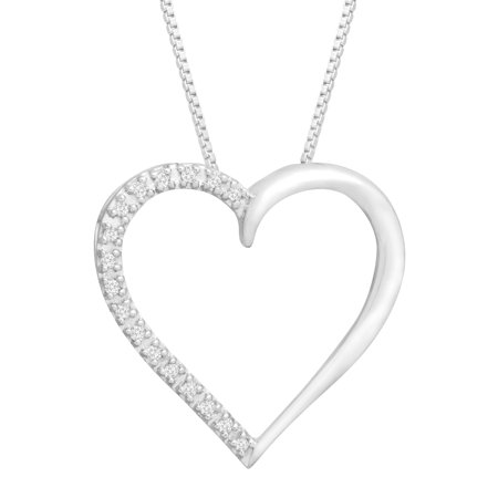 Diamond Open Heart Pendant - Open Heart Pendant Necklace with Diamonds in 14kt White Gold