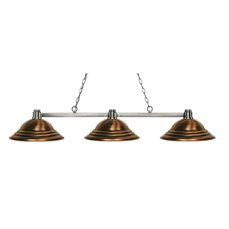 3 Light Island, Billiard Light With Stepped Antique Copper Shades