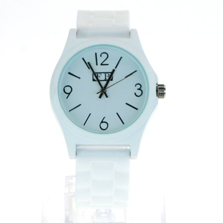 SA106 Womens Matte Minimal Modern Silicone Chain Band Round Analog Wrist Watch White ()