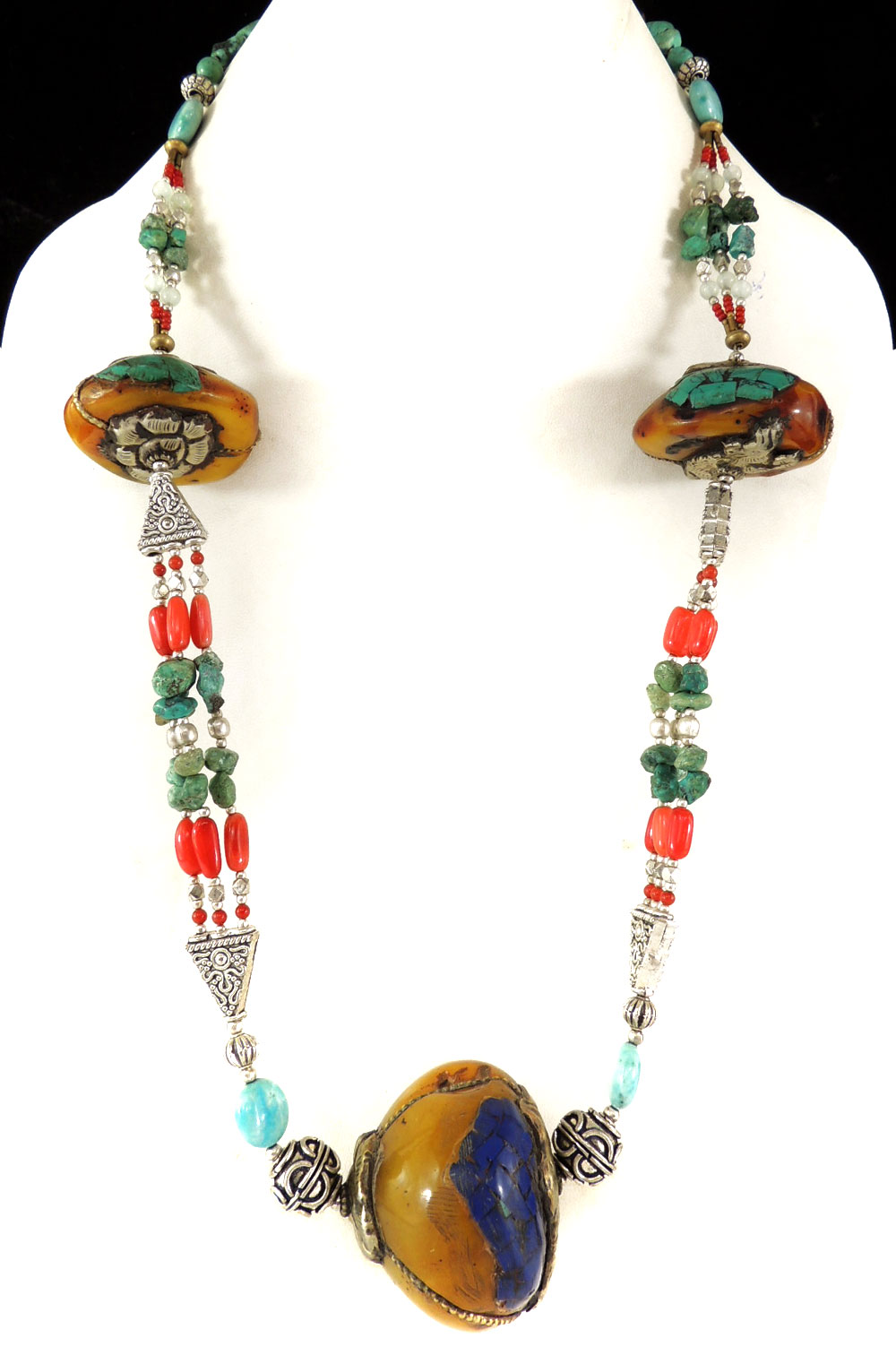 Tibetan Necklace Silver Repoussee Turquoise Stone Beads by