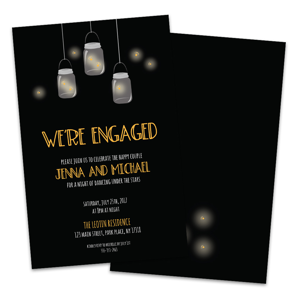 Personalized Firefly Mason Jar Engagement Party Invitations