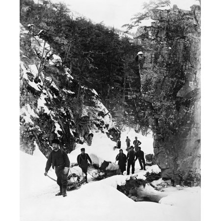 Alaska Prospectors C1897 Na Group Of Prospectors Including A Woman On The Trail Through Dyea Canyon Alaska On Their Way To Yukon C1897 Rolled Canvas Art     18 X 24