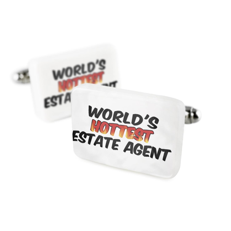 Cufflinks Worlds hottest Estate AgentPorcelain Ceramic NEONBLOND