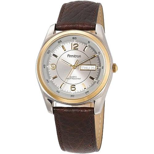 Armitron Men's Two-Tone Dress Watch, Brown Leather