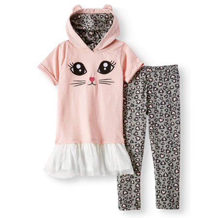 Colette Lilly Embroidered Critter Peplum Hoodie and Printed Legging, 2-Piece Outfit Set (Little Girls)