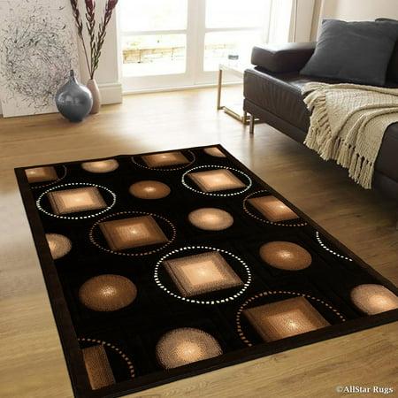 Allstar Black Abstract Modern Area Carpet Rug (5' 2
