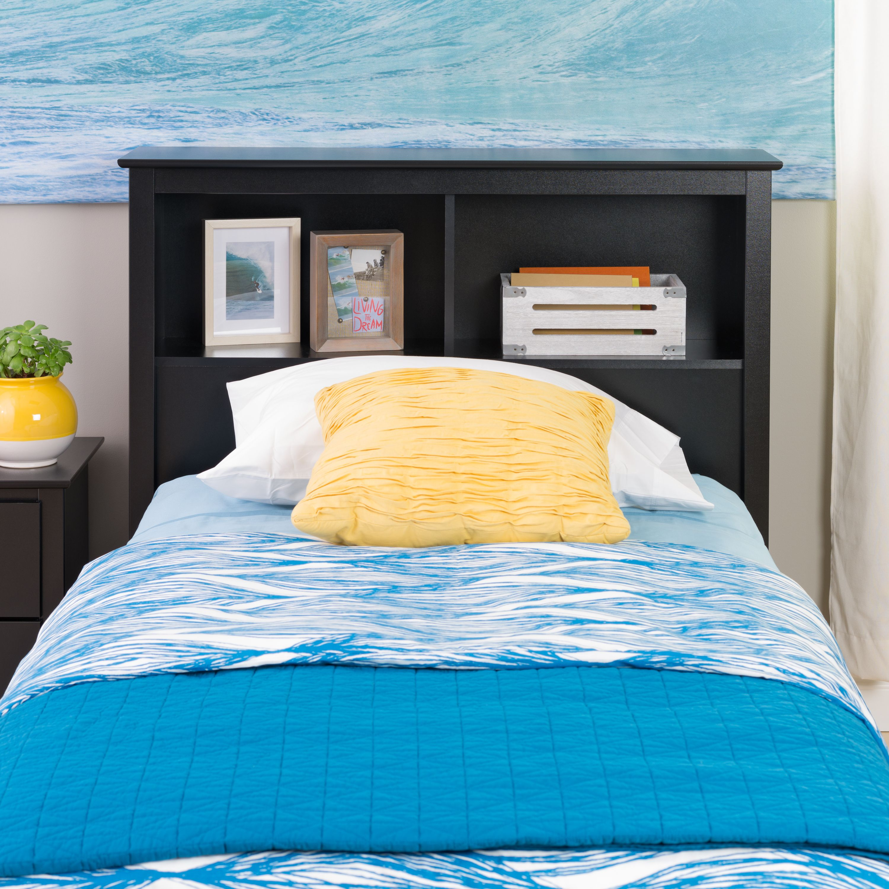 Brisbane Twin Storage Headboard, Black