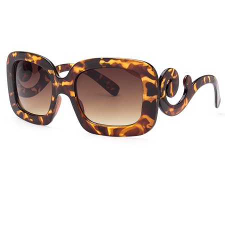 - Womens Sunglasses Vintage Oversized Round Big Bold Black Designer Baroque Circle