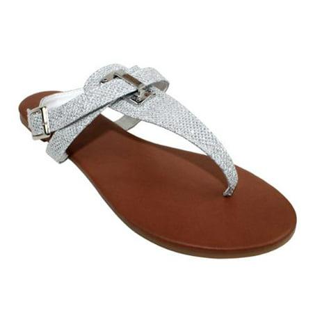 Om  Verona Shimmer Criss Cross Buckle Sandals