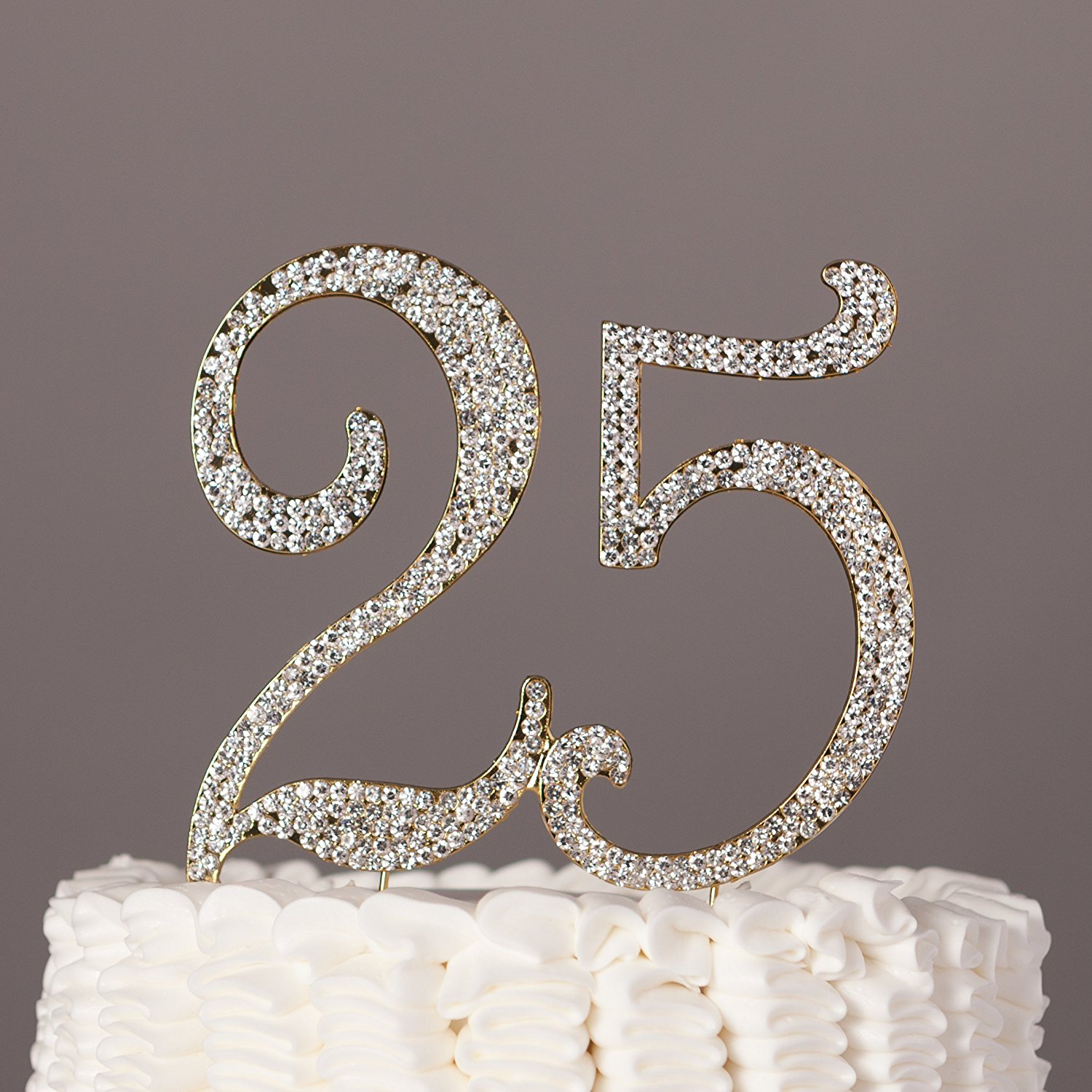 25 Cake Topper for 25th Birthday or Anniversary, Crystal Rhinestone Party Decoration Supplies (Silver)