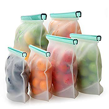 Reusable Silicone Food Bag - Lunch Storage Bag Leakproof Zipper Gallon Freezer Bags Dishwasher Safe for Marinate Meats, Sandwich, Snack, Cereal, Fruit, Meal Prep (6 Packs)