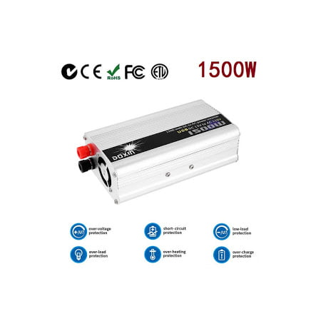 Portable Car Power Inverter 1500W WATT DC 12V to AC 110V Car Charg er Power Inverter Converter Modified Sine Wave Transformer Power Supply (Modified Sine Wave Inverter Charger)