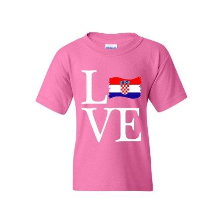 Love Croatia Flag Unisex Youth Kids T-Shirt Tee (Croatia Flag T-shirt)