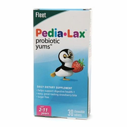 Fleet Pedia-Lax Probiotic Yums Dietary Supplement Chewable Tablets Strawberry 30 Tablets (Pack of 2)