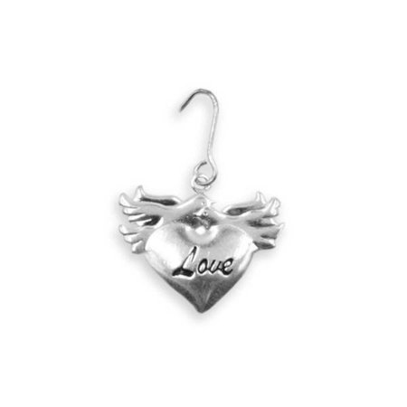 20 Love Birds Doves Heart Wedding Favor Silver Charms Decoration Gift