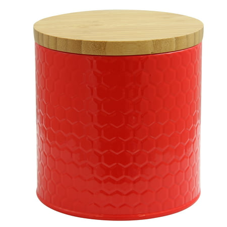 Red Bamboo - Embossed Canister with Bamboo Lid in Red