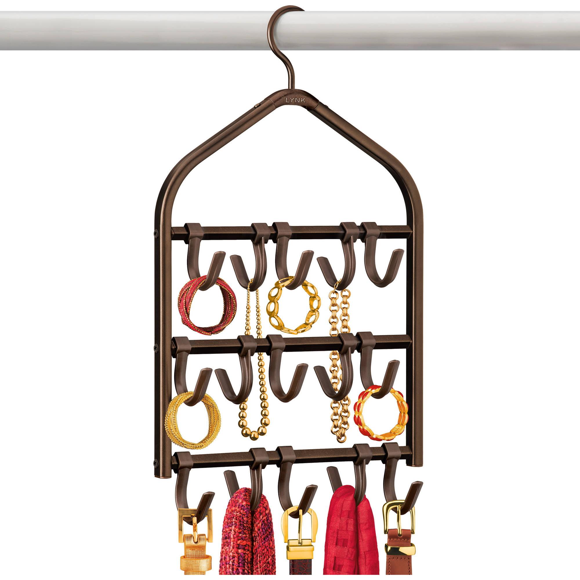 Lynk Double Sided Scarf Hanger, Belt, Hat, Jewelry, Accessory Holder, 15 Hook Closet Organizer Rack, Bronze