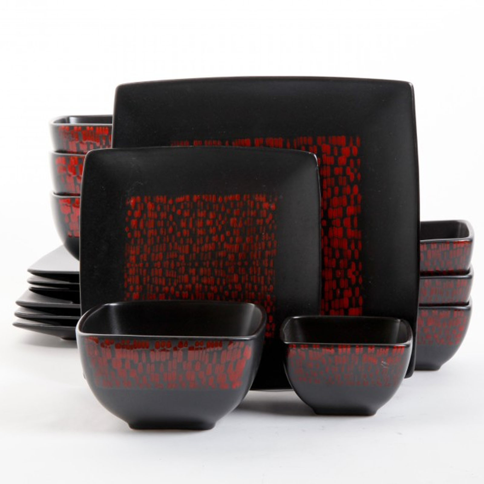 Gibson Elite Modo 16-piece Red/ Black Double Bowl Dinnerware Set  sc 1 st  Walmart : red and black dinnerware sets - pezcame.com