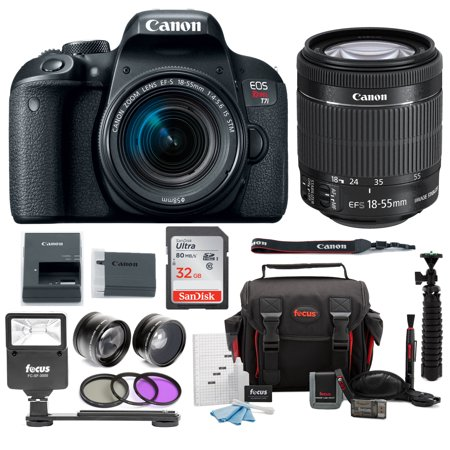Canon EOS Rebel T7i Digital SLR Camera Bundle w/ EF-S 18-55mm f/4-5.6 IS STM lens + 58mm Wide Angle Lens + 58mm Telephoto Lens + Flash + Canon SLR Bag + 32GB SDHC Memory Card + 3pc