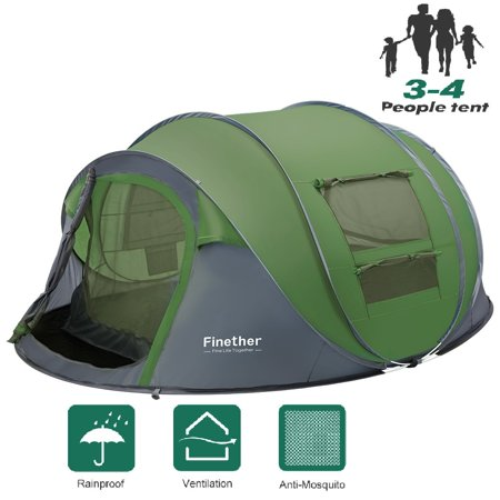 Tents 3-4 Person/People/Man Instant Pop Up Easy Quick Setup, Ventilated [Mesh Window] Waterproof 4 Season Big Family Privacy Dome Tent Shelter for Backpacking Picnic