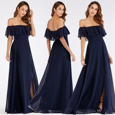 Ever-Pretty Women\'s Plus Size Empire Waist Bridesmaid Party Maxi Dresses  for Women 07679 Navy Blue US16
