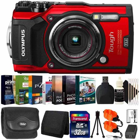 Olympus Tough TG-5 Waterproof Digital Camera Red With Photo Editing Software