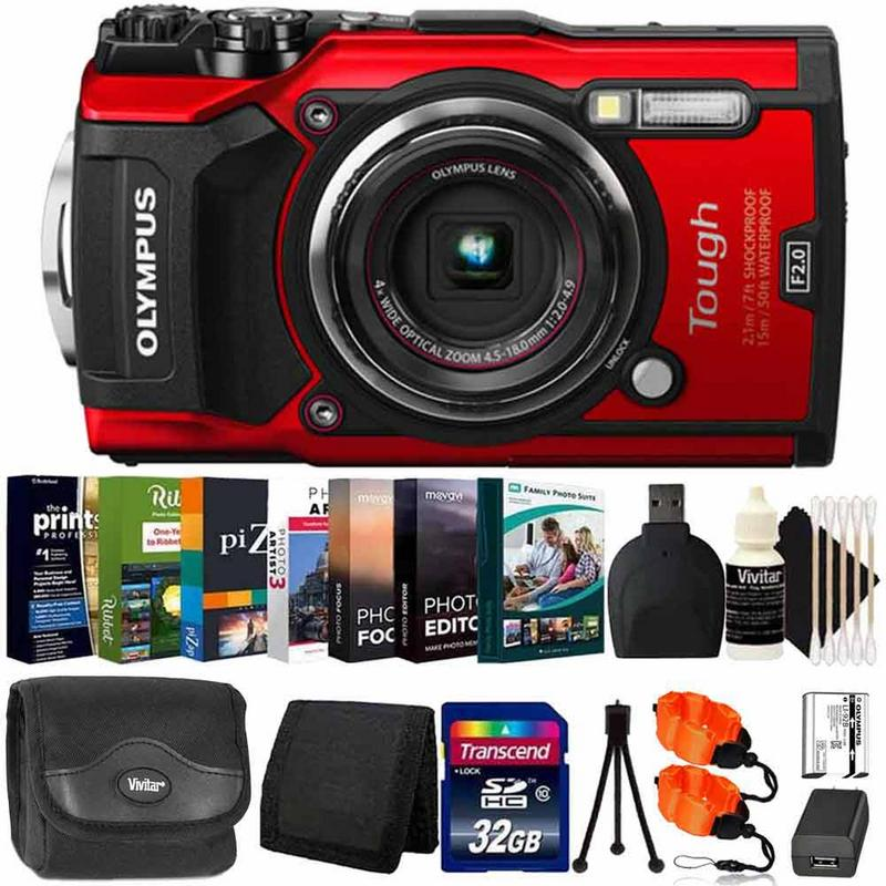 Olympus Tough TG-5 Waterproof Digital Camera Red With Photo Editing Software Kit