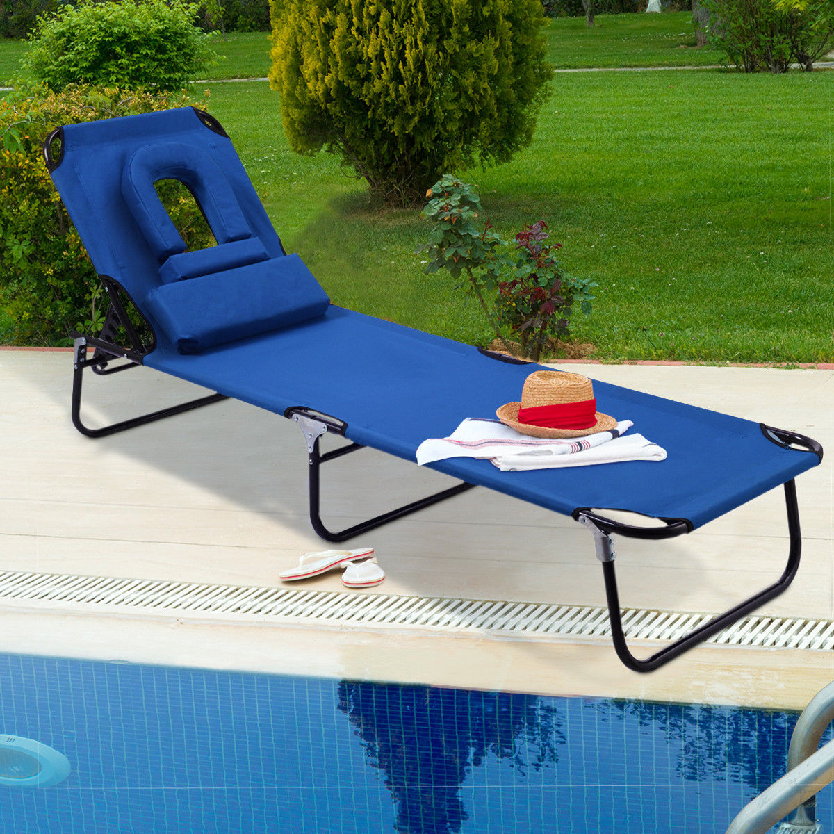 Product Image Costway Patio Foldable Chaise Lounge Chair Bed Outdoor Beach  Camping Recliner Pool Yard