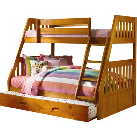 Cambridge Stanford Twin Over Full Bunk Bed In Honey Pine With Slide Out Trundle
