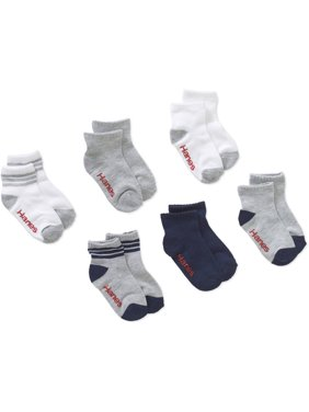Hanes Cushion Heel and Toe Ankle Socks, 6 Pack (Toddler Boys & Baby Boys)