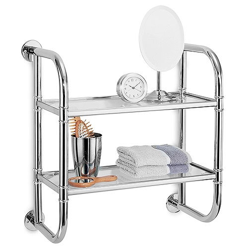 Neu Home 2 Tier Bath Shelf, Glass & Chrome