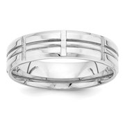 14k White Gold Heavy Comfort Fit Fancy Band Size 7