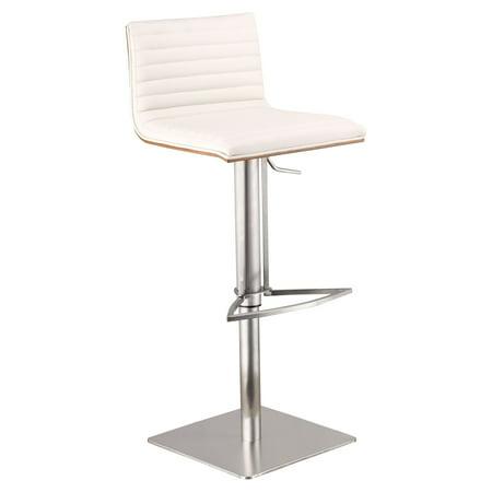 Armen Living Cafe Adjustable Brushed Stainless Steel Barstool, White with Walnut Back ()