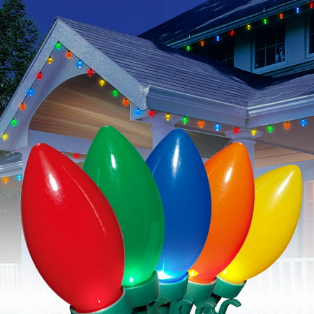 Holiday Time Ultra Bright LED C9 Christmas Lights Ceramic Multi, 25 ...