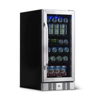 NewAir Compact 96 Can Built-In Beverage Refrigerator, Stainless Steel