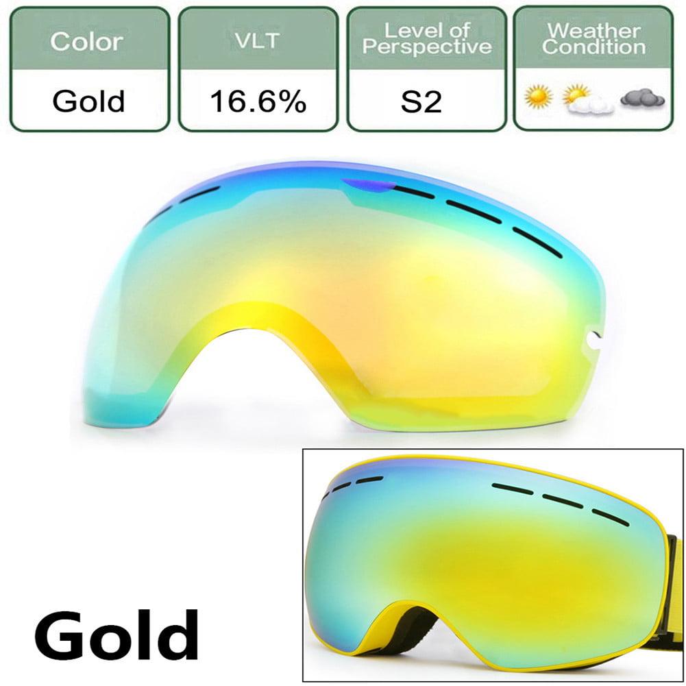 Large Spherical Ski Goggles Lens For Men Women Double Skiing Lens Protection Anti-Fogging Ski Night Vision Goggles(Black)