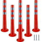 """VEVOR Traffic Delineator, 6pcs Posts Channelizer Cone, Delineator Post Kit 30"""" in Height, PU Traffic Post, Orange Safety Cones, Portable Spring Posts with Base, Barrier Cones with Reflective Bands"""