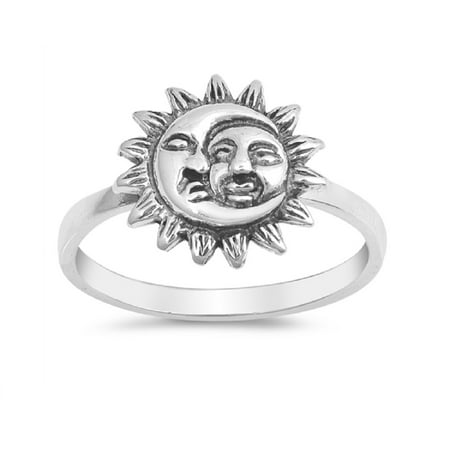 Oxidized Sterling Silver Sun And Moon Plain Band (Sun And Moon Best Friend Rings)