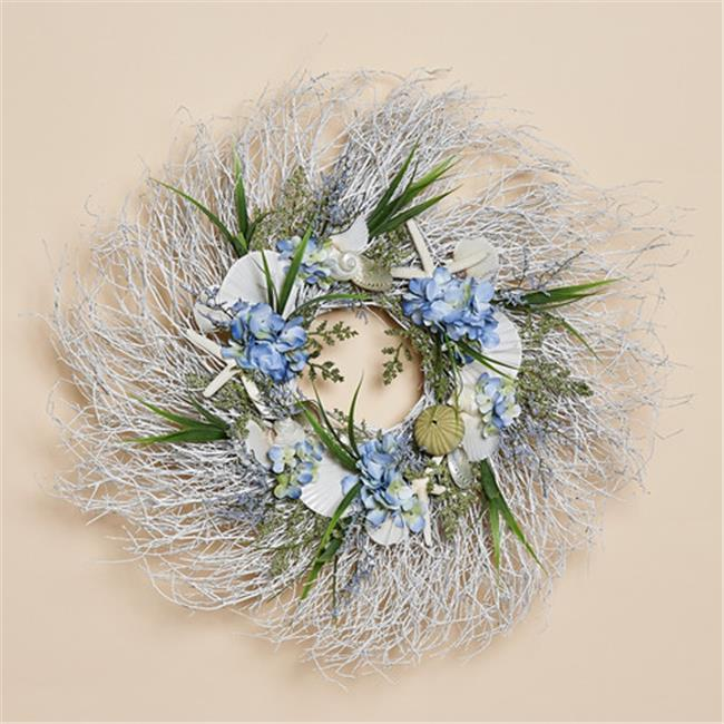 Harvest of Barnstable SCW24 White Twig Wreath with Blue Silk Hydrangea