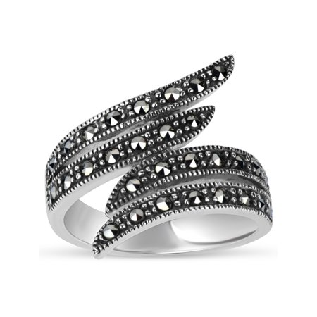 Marcasite Sterling Silver Jewelry Set - Swarovski Marcasite Sterling Silver Oxidized Double Bypass Ring