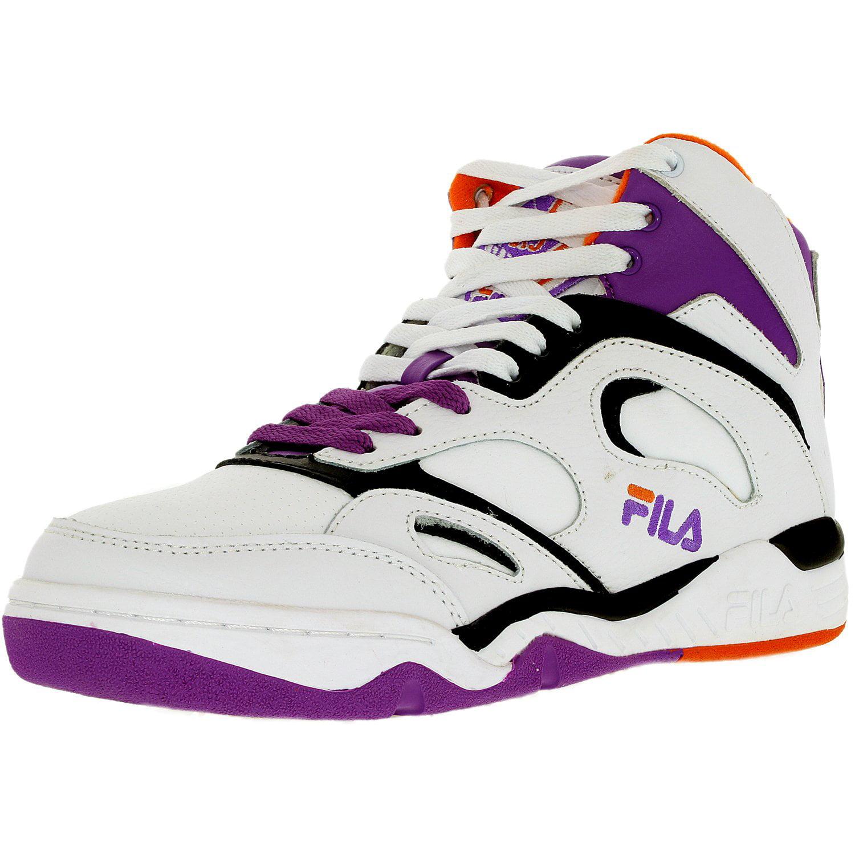Fila Men's Kj7 White Dewberry Vibrant Orange Ankle-High Leather Basketball Shoe 9M by Fila