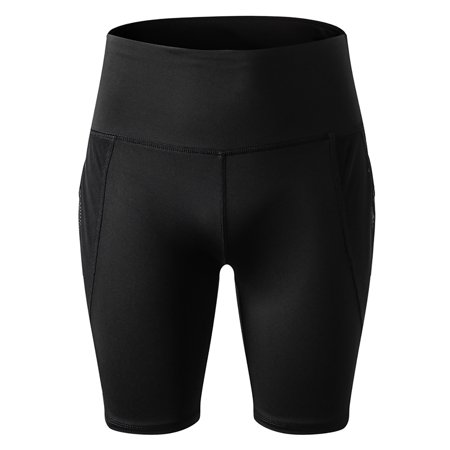 Ladies Women High Waist Yoga Shorts With Pocket Active Wear Fitness Pant Leggings Joggings Compression Long Workout Running Sport Shorts Gym Tights Black S