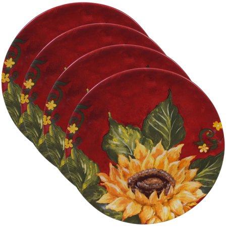 Sunset Sunflower Set/4 Salad Plate - Sunflower Ceramic Plates