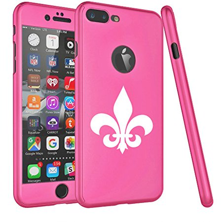 Fleur De Lis Iphone (For Apple iPhone 360° Full Body Thin Slim Hard Case Cover + Tempered Glass Screen Protector Fleur-De-Lis (Hot Pink For iPhone 8 Plus) )