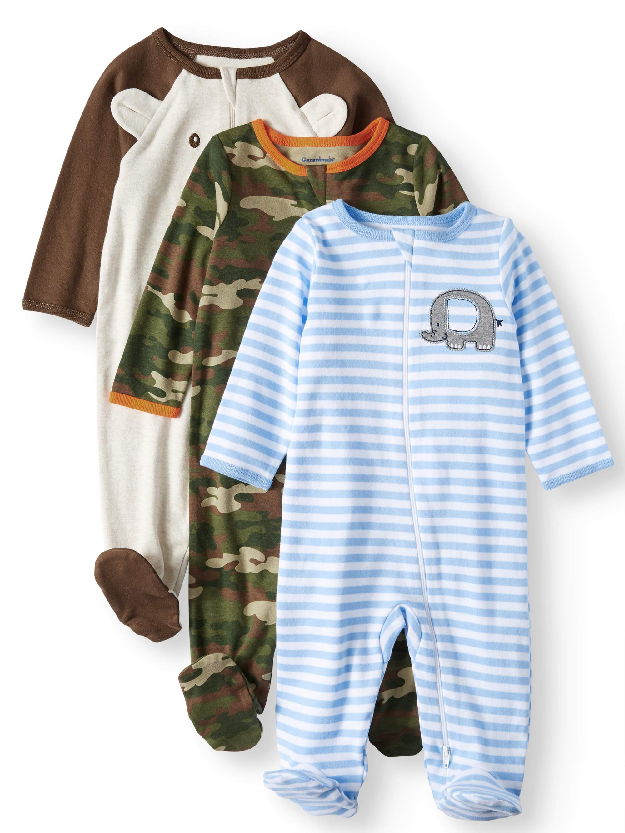 Garanimals Baby Boys' Inverted Zipper Sleep 'N Play, 3-Pack