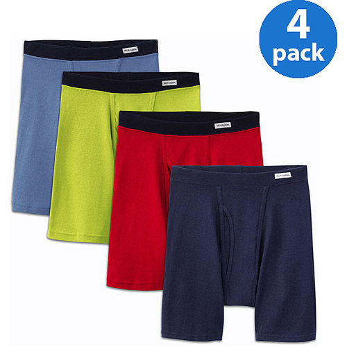 Fruit of the Loom Men's Underwear Fruit of the Loom Big Men's Soft Fabric Covered Waistband Boxer Briefs, 4 - Pack