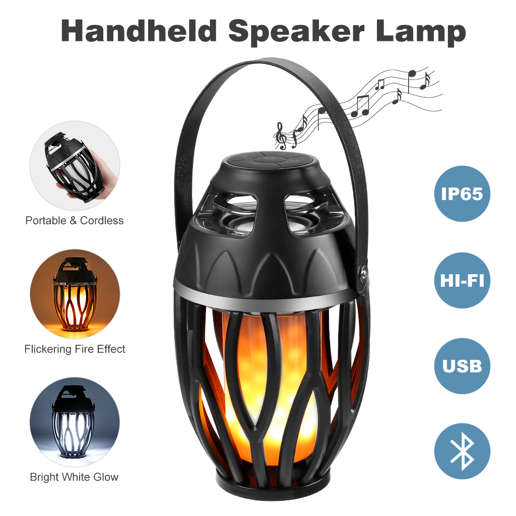 LED Flame Lamp Bluetooth Speaker Bedside Lamp,Waterproof Music Dancing Night Lights Atmosphere Lamp, Burning Flame Desk Table Lamps with Superior Bass and Sound for Indoor Outdoor