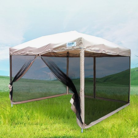 - Quictent 8x8 Ez Pop up Canopy with Netting Screen House Instant Gazebo Party Tent Mesh Sides Walls With Carry BAG Tan