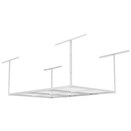 "FLEXIMOUNTS 4x6 Heavy Duty Overhead Garage Adjustable Ceiling Storage Rack, 72"" Length x 48"" Width x 40"" Height, White"